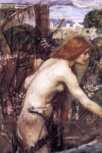 Woman picking flowers, John William Waterhouse
